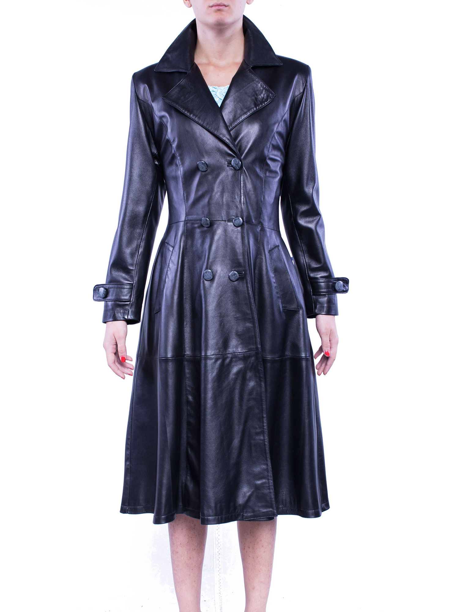 Womens Redingote Leather Coat on Tuscan Home Design